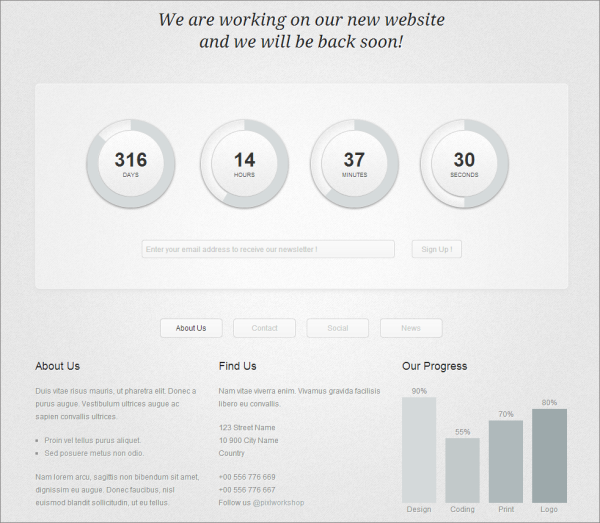 Circular Countdown Coming Soon WordPress Theme