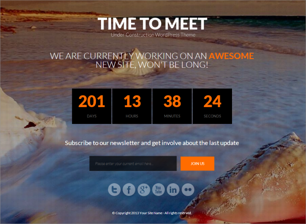Time to Meet Coming Soon WordPress Theme